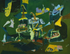 "(圖片:Arshile Gorky, ""Dark Green Painting"" (C. 1948).  Philadelphia Museum of Art. http://artobserved.com/2009/10/go-see-philadelphia-arshile-gorky-at-philadelphia-museum-of-art-through-january-3-2010/)"