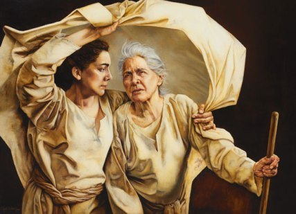Ruth and mother-in-law Naomi by painter Sandy Freckleton